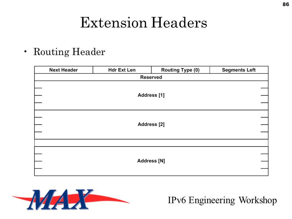 IPv6 Engineering Workshop 86 Extension Headers Routing Header