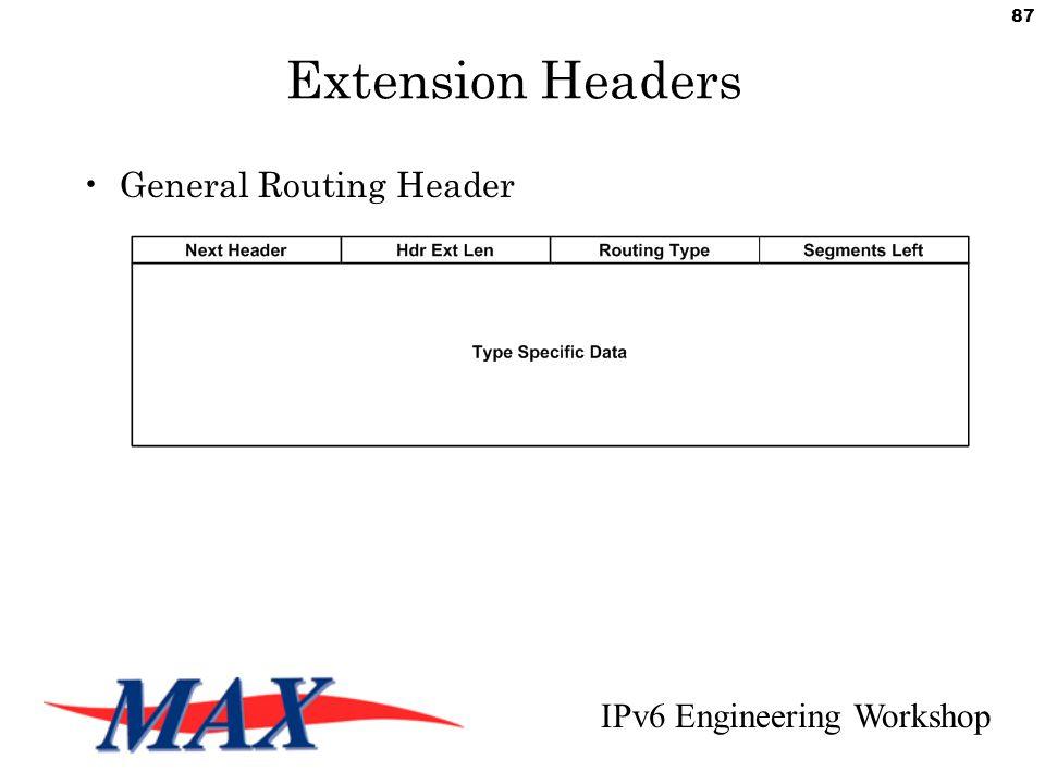 IPv6 Engineering Workshop 87 Extension Headers General Routing Header