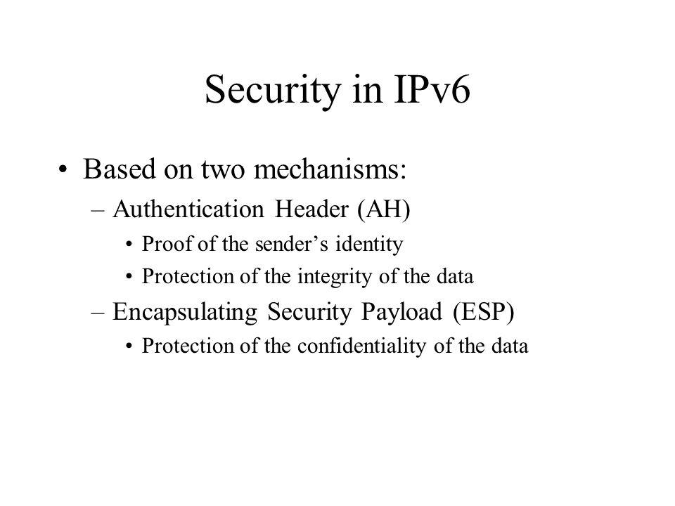 Authentication Header - Example Base Header Next=Auth TCP Segment Auth Header Next=TCP