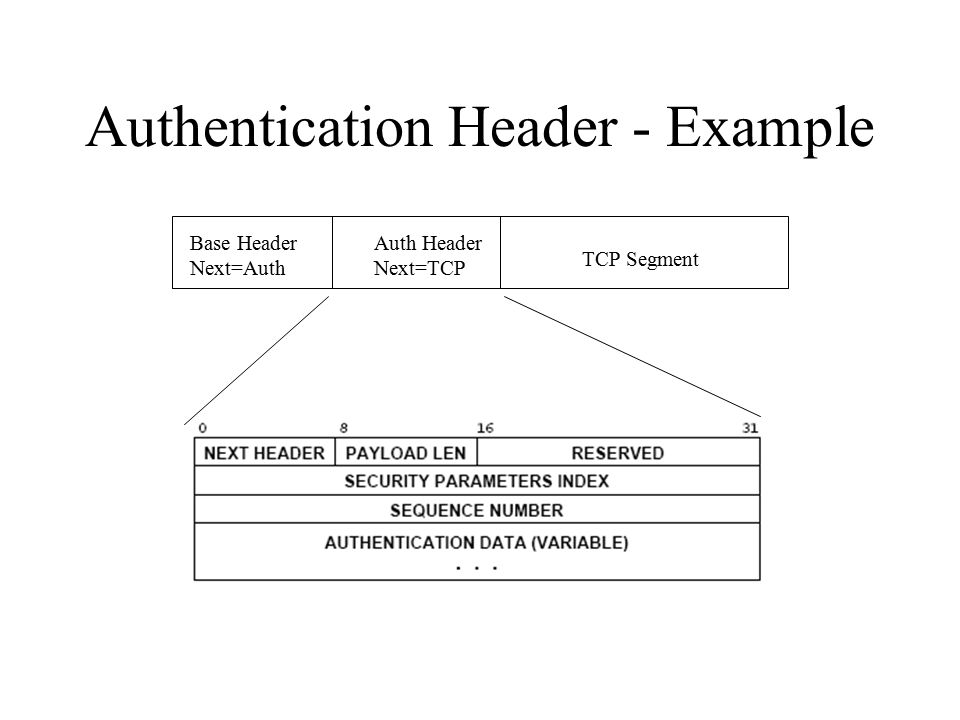 Authentication Header Security parameters index field – specifies which specific authentication scheme is being used Authentication data field – contains data that can be used to establish the datagrams: –Authenticity –Integrity