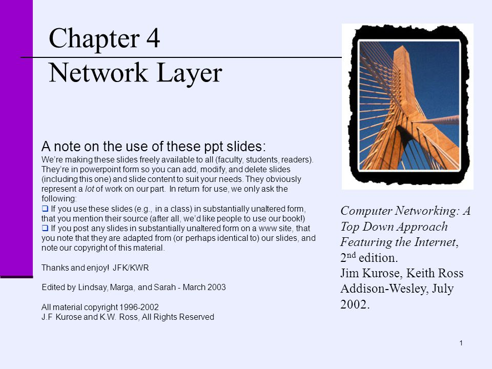 1 Chapter 4 Network Layer Computer Networking: A Top Down Approach Featuring the Internet, 2 nd edition. Jim Kurose, Keith Ross Addison-Wesley, July 2