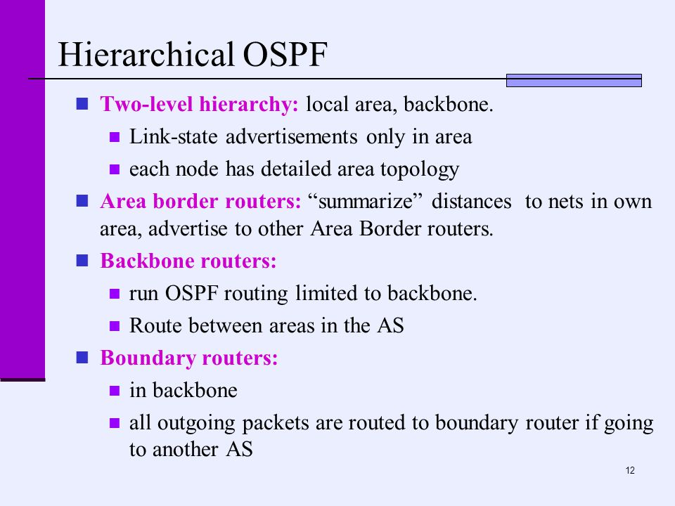 12 Hierarchical OSPF Two-level hierarchy: local area, backbone. Link-state advertisements only in area each node has detailed area topology Area borde