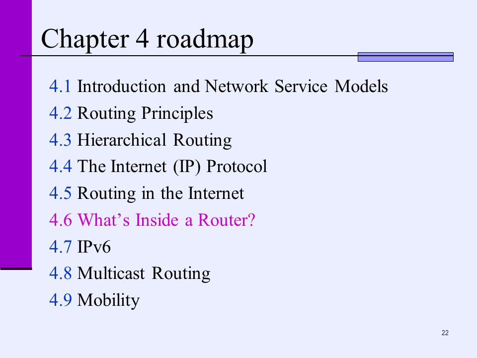 22 Chapter 4 roadmap 4.1 Introduction and Network Service Models 4.2 Routing Principles 4.3 Hierarchical Routing 4.4 The Internet (IP) Protocol 4.5 Routing in the Internet 4.6 What's Inside a Router.