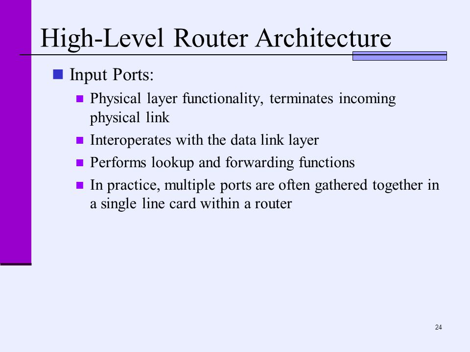 24 High-Level Router Architecture Input Ports: Physical layer functionality, terminates incoming physical link Interoperates with the data link layer