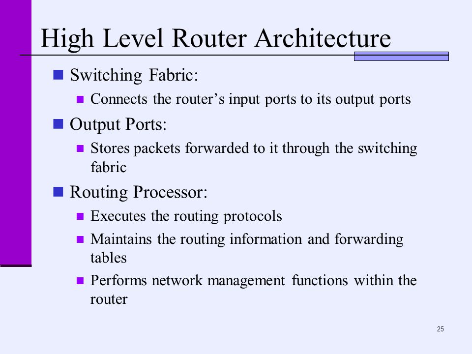 25 High Level Router Architecture Switching Fabric: Connects the router's input ports to its output ports Output Ports: Stores packets forwarded to it through the switching fabric Routing Processor: Executes the routing protocols Maintains the routing information and forwarding tables Performs network management functions within the router