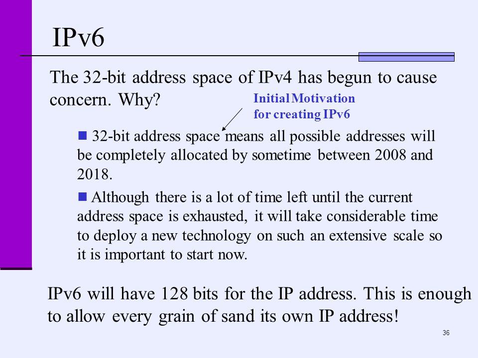 36 IPv6 The 32-bit address space of IPv4 has begun to cause concern.