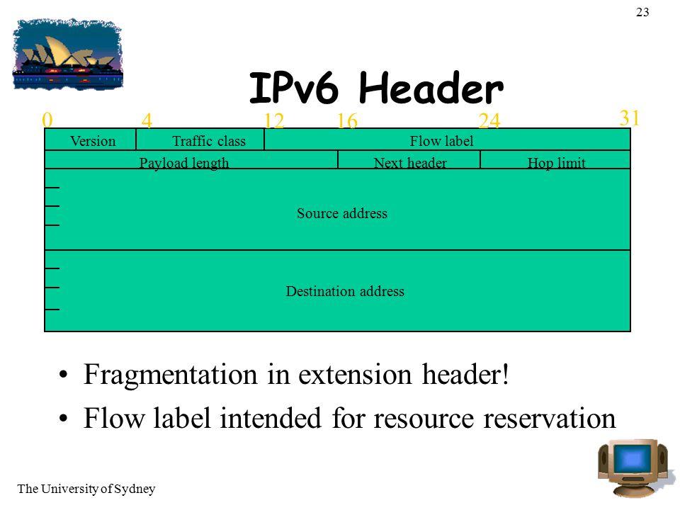 The University of Sydney 23 IPv6 Header Fragmentation in extension header! Flow label intended for resource reservation 0 12 31 4 16 24 VersionTraffic