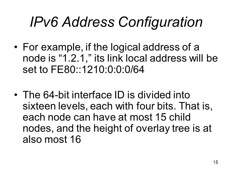15 IPv6 Address Configuration For example, if the logical address of a node is 1.2.1, its link local address will be set to FE80::1210:0:0:0/64 The 64-bit interface ID is divided into sixteen levels, each with four bits.