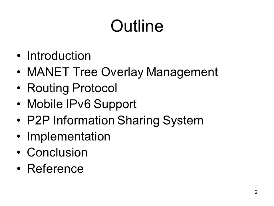 53 Conclusion proposed a self-organizing, self- addressing, self-routing IPv6-based MANET, which supports global connectivity and IPv6 mobility Several issues require further study –Designing a power saving protocol –Internet games (distributed virtual environment) over the proposed MANET are also under investigation