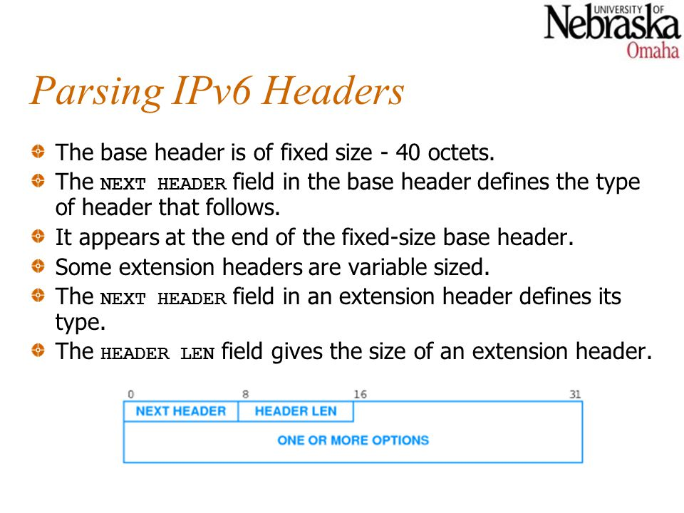 Parsing IPv6 Headers The base header is of fixed size - 40 octets.