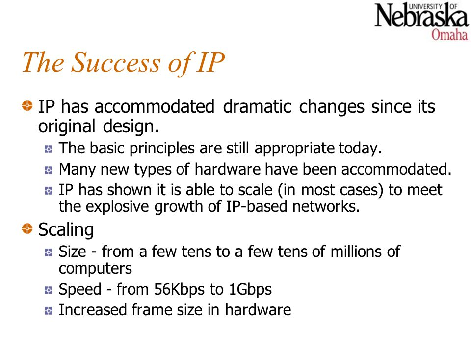 The Success of IP IP has accommodated dramatic changes since its original design.