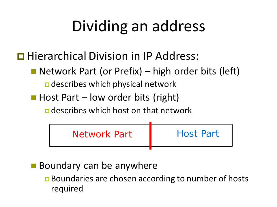 Network Part Host Part Dividing an address  Hierarchical Division in IP Address: Network Part (or Prefix) – high order bits (left)‏  describes which physical network Host Part – low order bits (right)‏  describes which host on that network Boundary can be anywhere  Boundaries are chosen according to number of hosts required