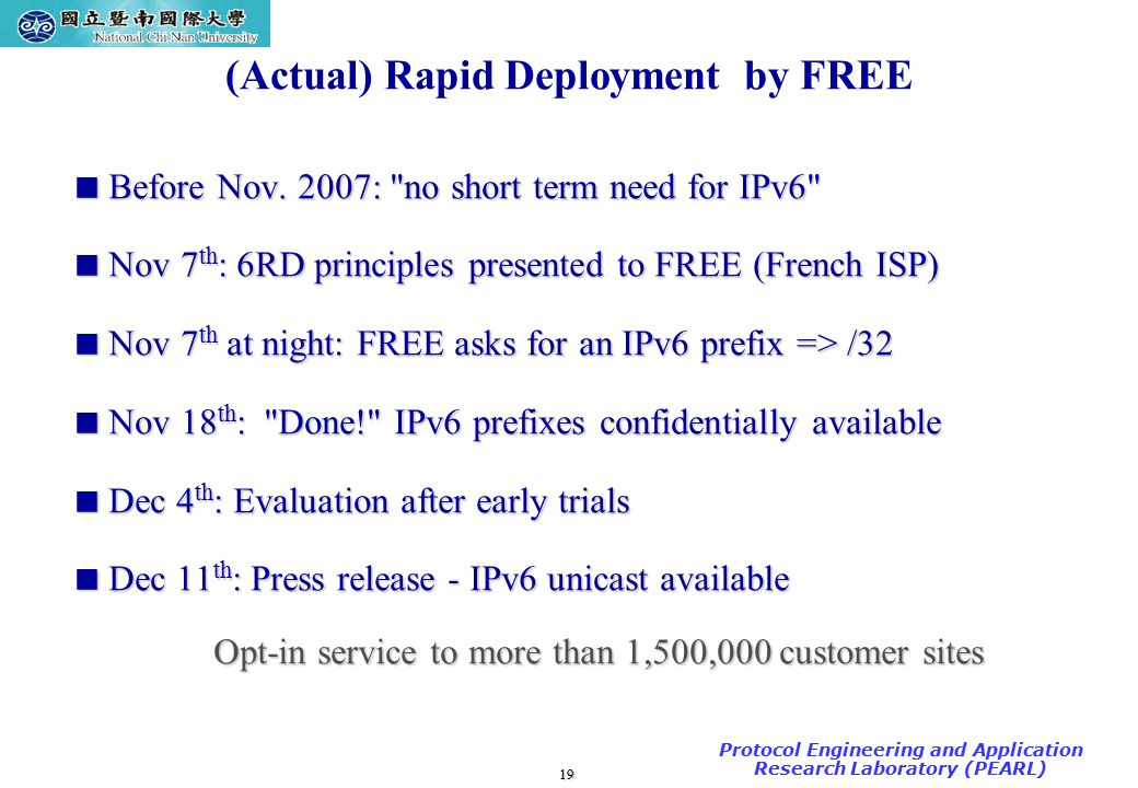 19 TAC2000/2000.7 Protocol Engineering and Application Research Laboratory (PEARL) (Actual) Rapid Deployment by FREE  Before Nov.