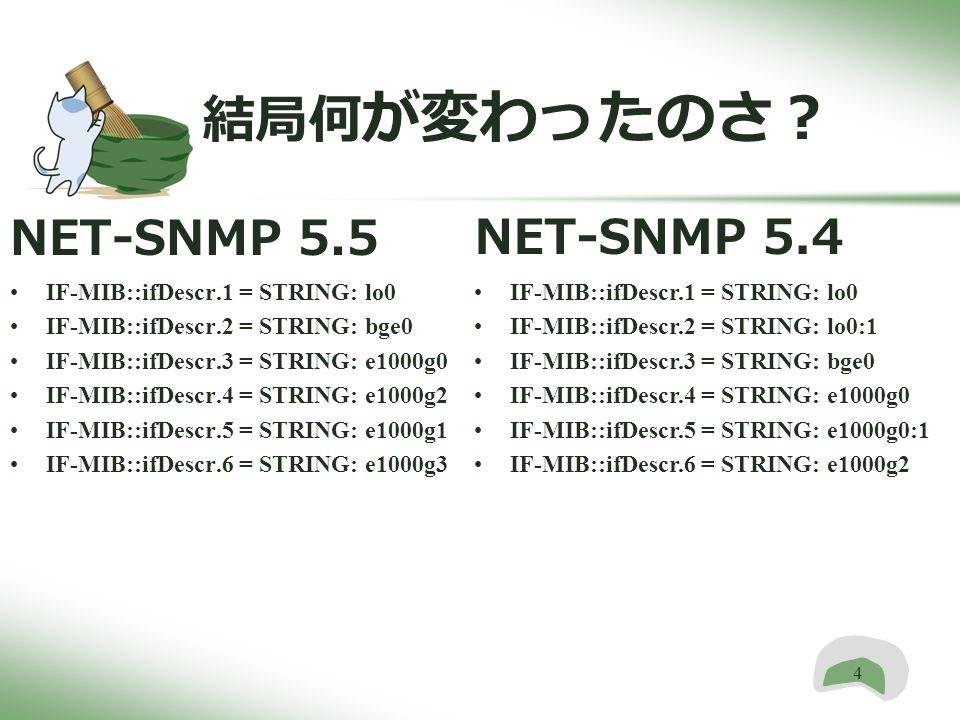4 結局何 が変わったのさ? NET-SNMP 5.5 IF-MIB::ifDescr.1 = STRING: lo0 IF-MIB::ifDescr.2 = STRING: bge0 IF-MIB::ifDescr.3 = STRING: e1000g0 IF-MIB::ifDescr.4 = STRING: e1000g2 IF-MIB::ifDescr.5 = STRING: e1000g1 IF-MIB::ifDescr.6 = STRING: e1000g3 NET-SNMP 5.4 IF-MIB::ifDescr.1 = STRING: lo0 IF-MIB::ifDescr.2 = STRING: lo0:1 IF-MIB::ifDescr.3 = STRING: bge0 IF-MIB::ifDescr.4 = STRING: e1000g0 IF-MIB::ifDescr.5 = STRING: e1000g0:1 IF-MIB::ifDescr.6 = STRING: e1000g2