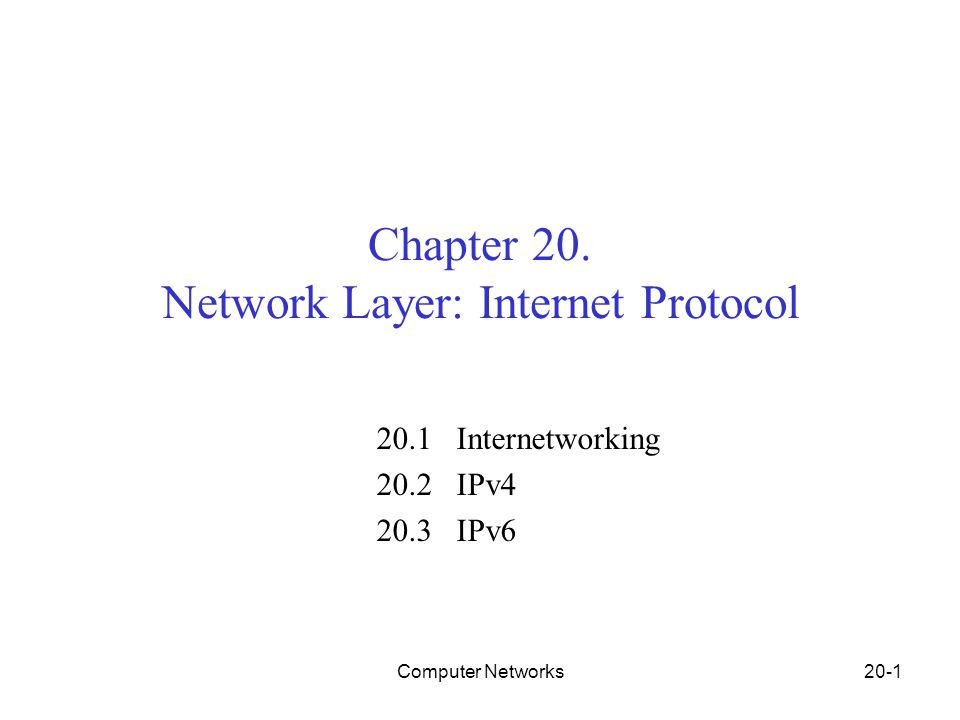 Computer Networks20-1 Chapter 20.