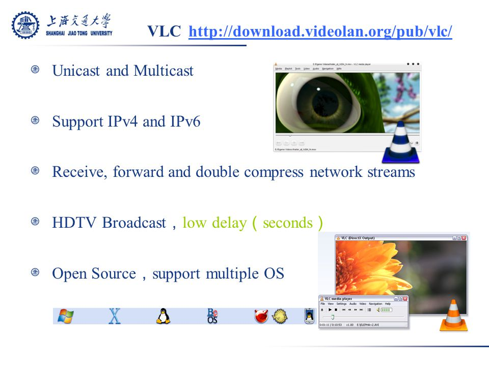 VLC http://download.videolan.org/pub/vlc/ Unicast and Multicast Support IPv4 and IPv6 Receive, forward and double compress network streams HDTV Broadcast , low delay ( seconds ) Open Source , support multiple OS