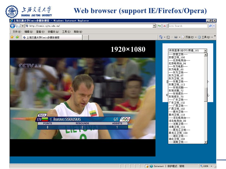 Web browser (support IE/Firefox/Opera) 1920×1080