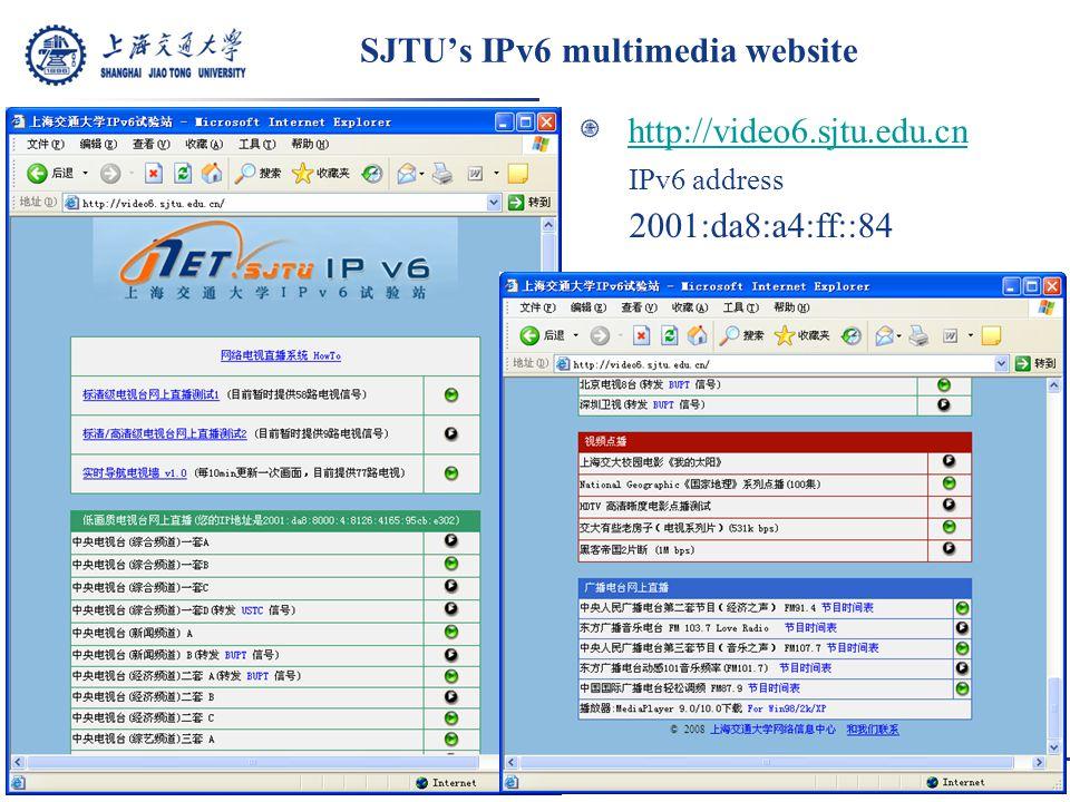 SJTU's IPv6 multimedia website http://video6.sjtu.edu.cn IPv6 address 2001:da8:a4:ff::84