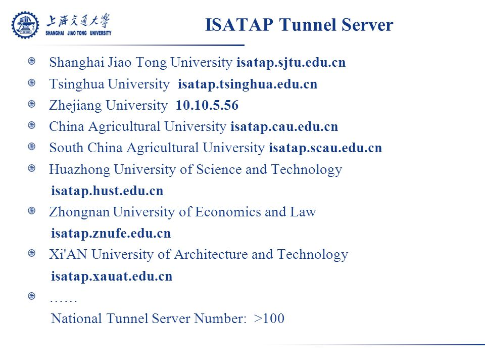 ISATAP Tunnel Server Shanghai Jiao Tong University isatap.sjtu.edu.cn Tsinghua University isatap.tsinghua.edu.cn Zhejiang University 10.10.5.56 China Agricultural University isatap.cau.edu.cn South China Agricultural University isatap.scau.edu.cn Huazhong University of Science and Technology isatap.hust.edu.cn Zhongnan University of Economics and Law isatap.znufe.edu.cn Xi AN University of Architecture and Technology isatap.xauat.edu.cn …… National Tunnel Server Number: >100