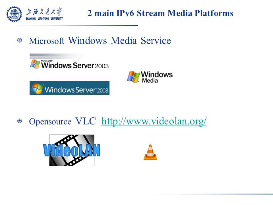 2 main IPv6 Stream Media Platforms Microsoft Windows Media Service Opensource VLC http://www.videolan.org/http://www.videolan.org/