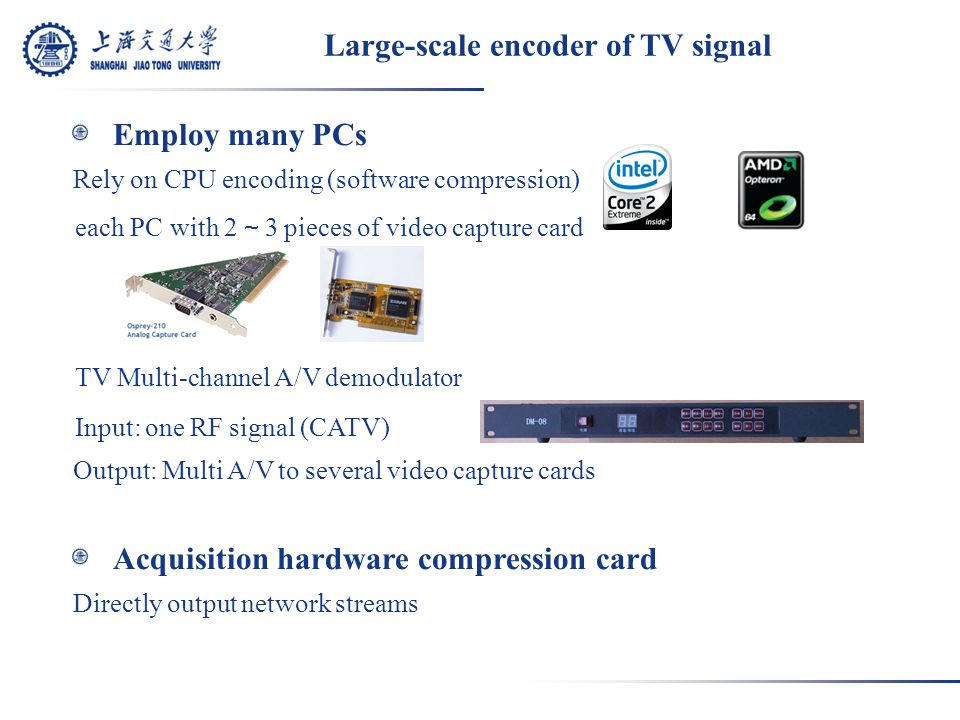 Large-scale encoder of TV signal Employ many PCs Rely on CPU encoding (software compression) each PC with 2 ~ 3 pieces of video capture card TV Multi-channel A/V demodulator Input: one RF signal (CATV) Output: Multi A/V to several video capture cards Acquisition hardware compression card Directly output network streams