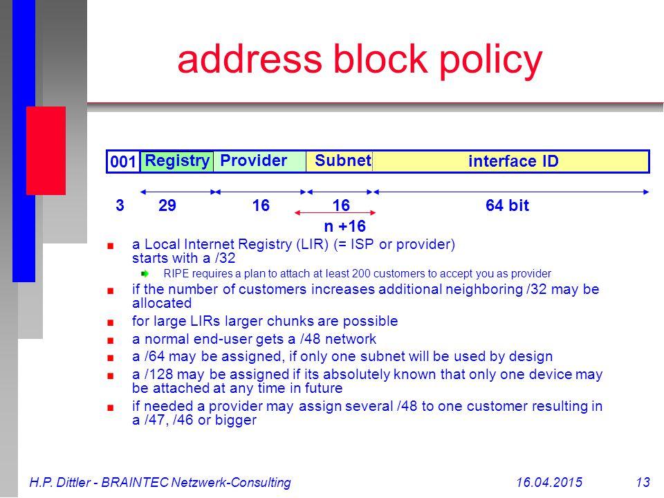 H.P. Dittler - BRAINTEC Netzwerk-Consulting16.04.2015 13 1664 bit interface ID SubnetProviderRegistry 001 address block policy a Local Internet Regist