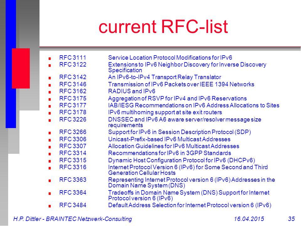 H.P. Dittler - BRAINTEC Netzwerk-Consulting16.04.2015 35 current RFC-list RFC 3111Service Location Protocol Modifications for IPv6 RFC 3122Extensions