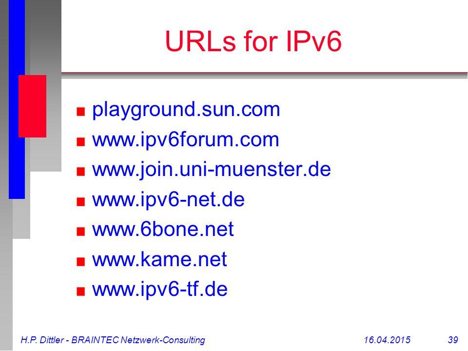 H.P. Dittler - BRAINTEC Netzwerk-Consulting16.04.2015 39 URLs for IPv6 playground.sun.com www.ipv6forum.com www.join.uni-muenster.de www.ipv6-net.de w