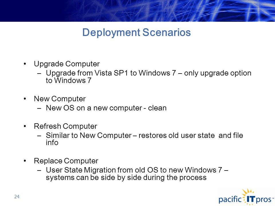 Deployment Scenarios Upgrade Computer –Upgrade from Vista SP1 to Windows 7 – only upgrade option to Windows 7 New Computer –New OS on a new computer - clean Refresh Computer –Similar to New Computer – restores old user state and file info Replace Computer –User State Migration from old OS to new Windows 7 – systems can be side by side during the process 24