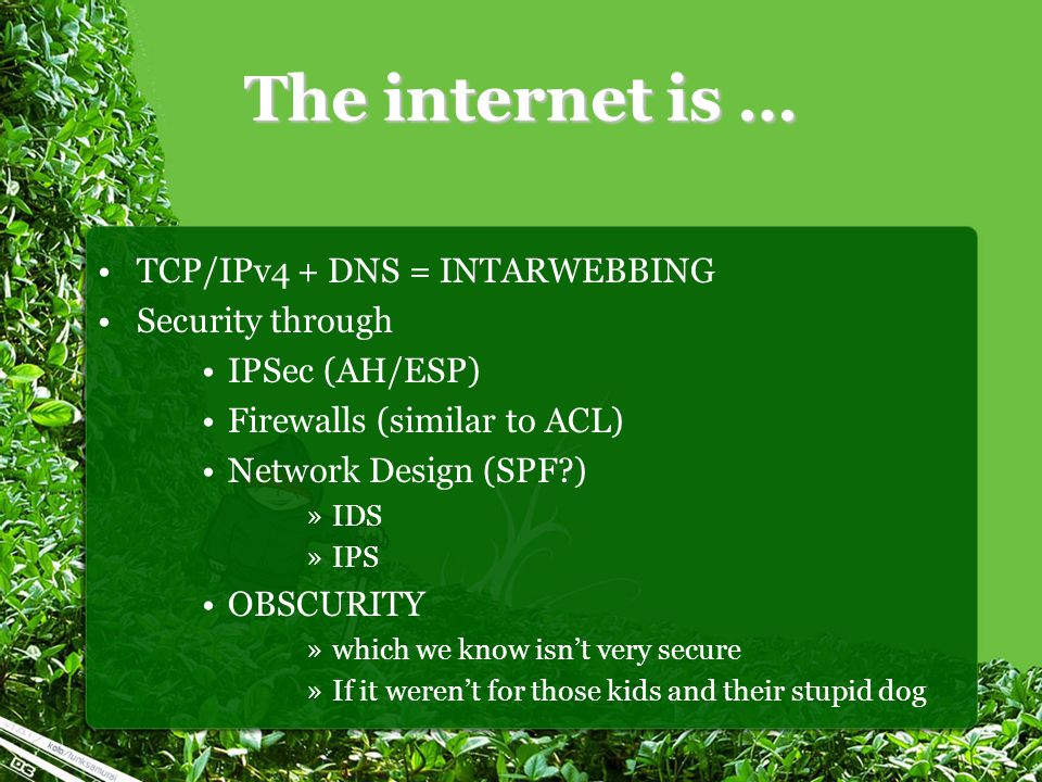 The internet is … TCP/IPv4 + DNS = INTARWEBBING Security through IPSec (AH/ESP) Firewalls (similar to ACL) Network Design (SPF ) »IDS »IPS OBSCURITY »which we know isn't very secure »If it weren't for those kids and their stupid dog