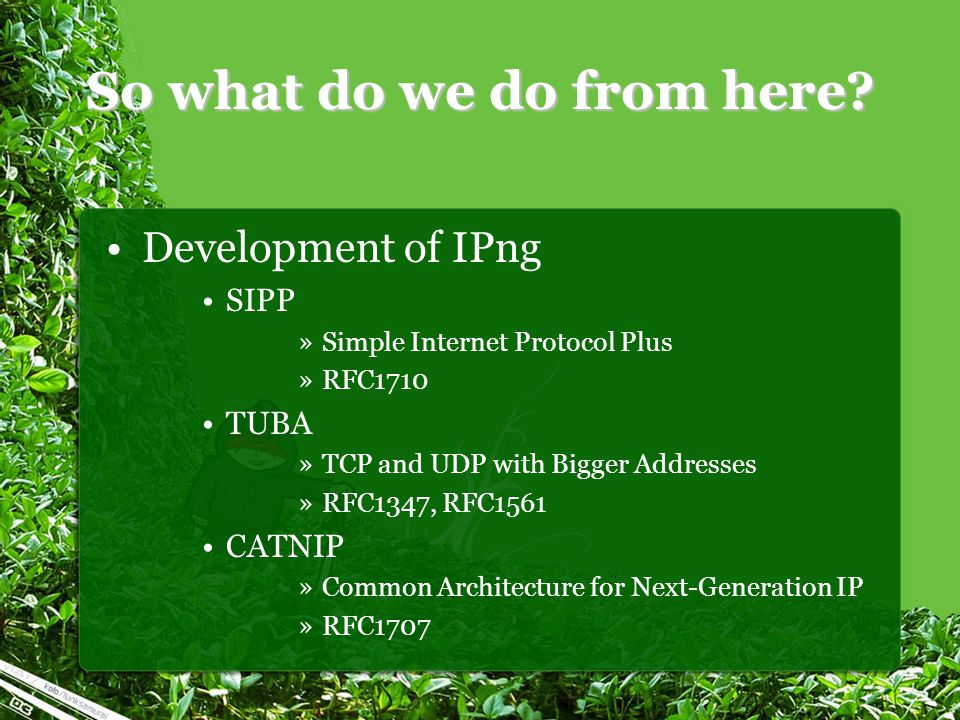 So what do we do from here? Development of IPng SIPP »Simple Internet Protocol Plus »RFC1710 TUBA »TCP and UDP with Bigger Addresses »RFC1347, RFC1561