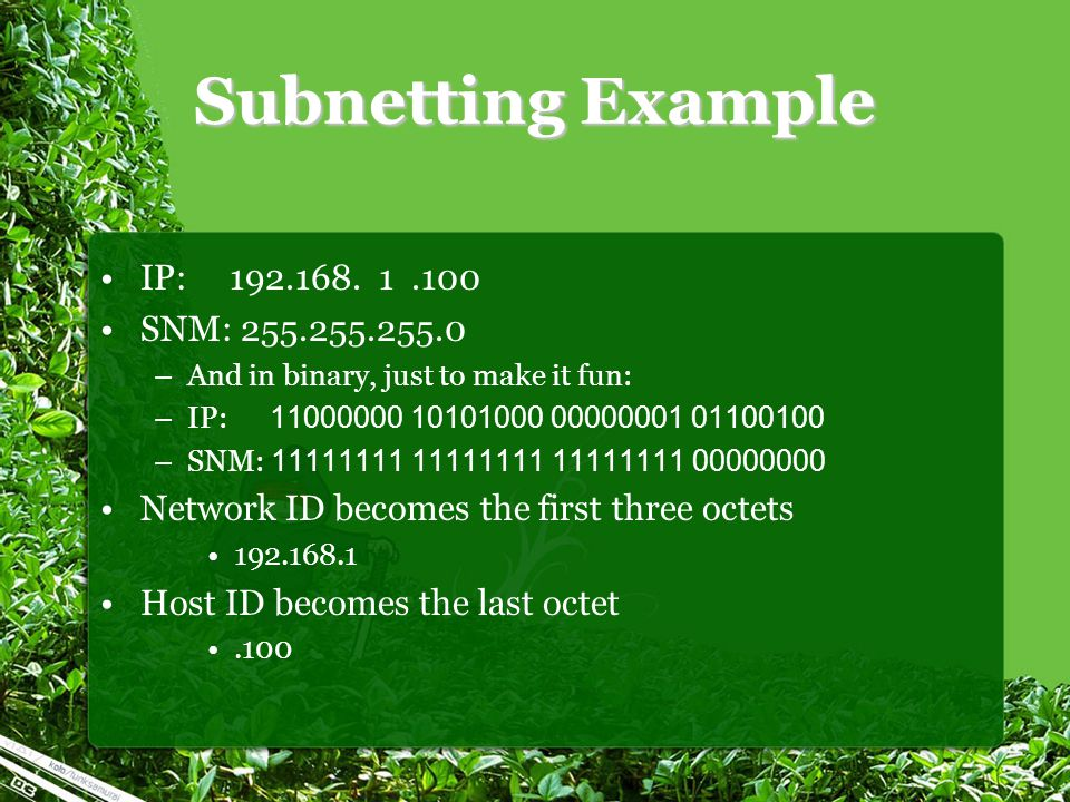 Subnetting Example IP: 192.168.