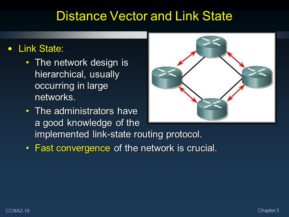 CCNA2-19 Chapter 3 Distance Vector and Link State Link State: Link State: The network design is hierarchical, usually occurring in large networks.The
