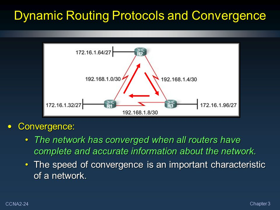 CCNA2-24 Chapter 3 Dynamic Routing Protocols and Convergence Convergence: Convergence: The network has converged when all routers have complete and ac