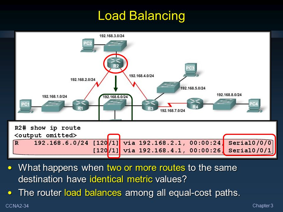 CCNA2-34 Chapter 3 Load Balancing What happens when two or more routes to the same destination have identical metric values? What happens when two or