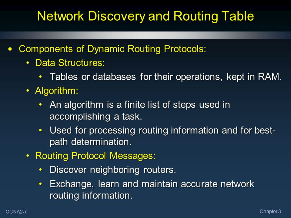 CCNA2-7 Chapter 3 Network Discovery and Routing Table Components of Dynamic Routing Protocols: Components of Dynamic Routing Protocols: Data Structure