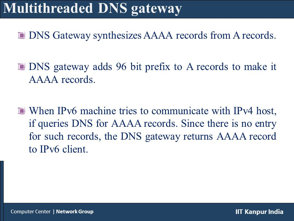 DNS Gateway synthesizes AAAA records from A records.