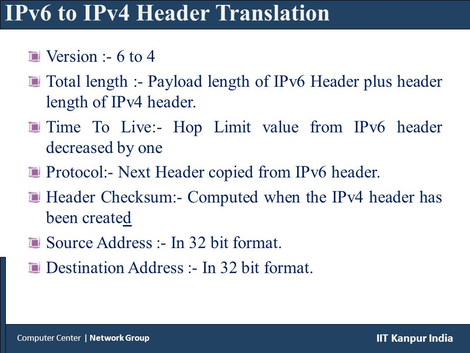 IPv4 packet is received by translator and the table is searched for original destination of packet i.e.