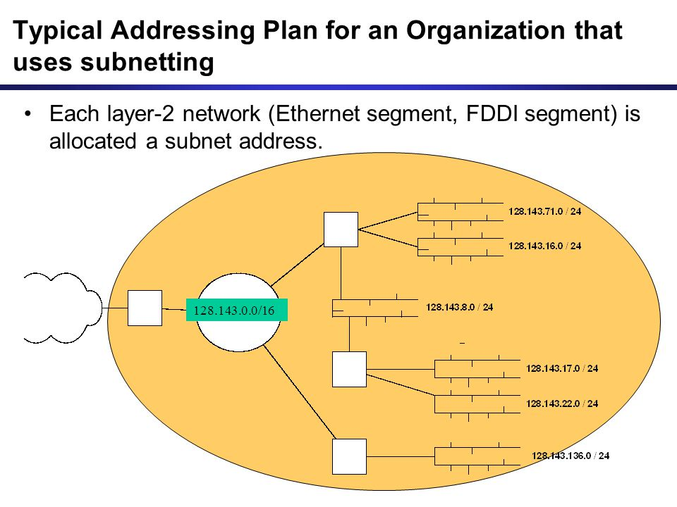 Each layer-2 network (Ethernet segment, FDDI segment) is allocated a subnet address. Typical Addressing Plan for an Organization that uses subnetting