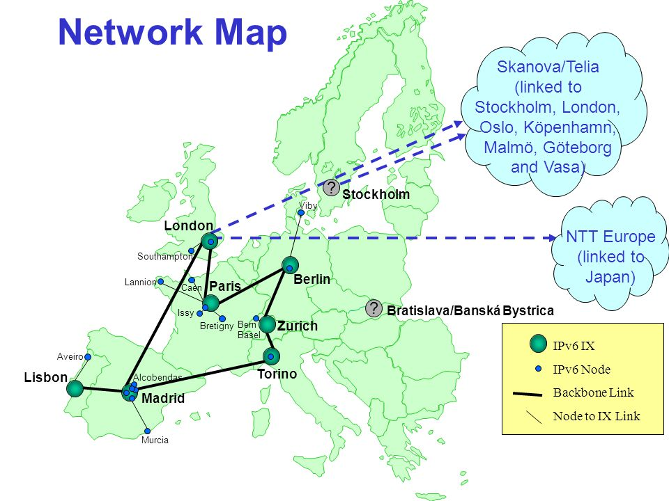 Network Map IPv6 IX IPv6 Node Backbone Link Node to IX Link Torino Paris Zurich Berlin London Lisbon .