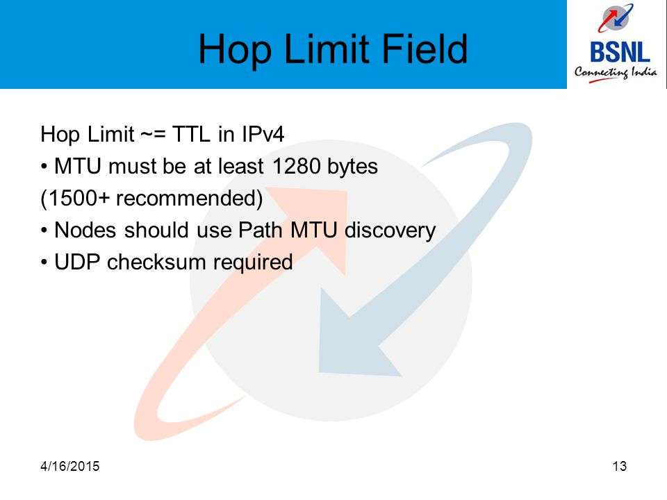 Hop Limit Field Hop Limit ~= TTL in IPv4 MTU must be at least 1280 bytes (1500+ recommended) Nodes should use Path MTU discovery UDP checksum required 4/16/201513