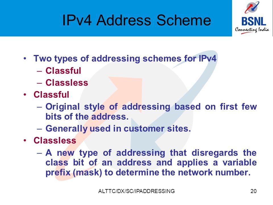ALTTC/DX/SC/IPADDRESSING20 IPv4 Address Scheme Two types of addressing schemes for IPv4 –Classful –Classless Classful –Original style of addressing ba