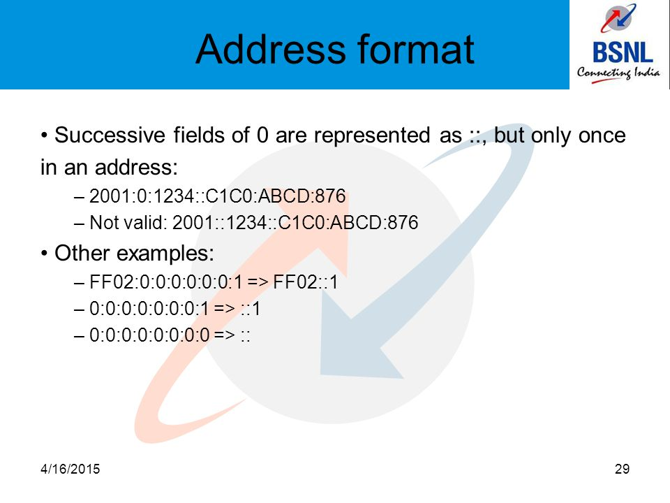 Address format Successive fields of 0 are represented as ::, but only once in an address: – 2001:0:1234::C1C0:ABCD:876 – Not valid: 2001::1234::C1C0:ABCD:876 Other examples: – FF02:0:0:0:0:0:0:1 => FF02::1 – 0:0:0:0:0:0:0:1 => ::1 – 0:0:0:0:0:0:0:0 => :: 4/16/201529