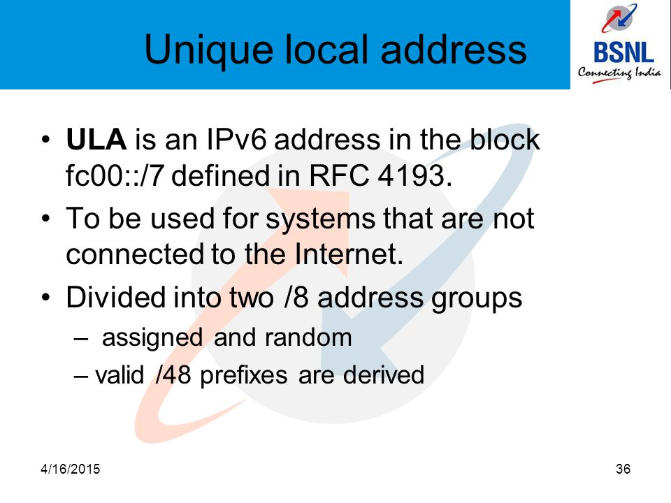 Unique local address ULA is an IPv6 address in the block fc00::/7 defined in RFC 4193. To be used for systems that are not connected to the Internet.