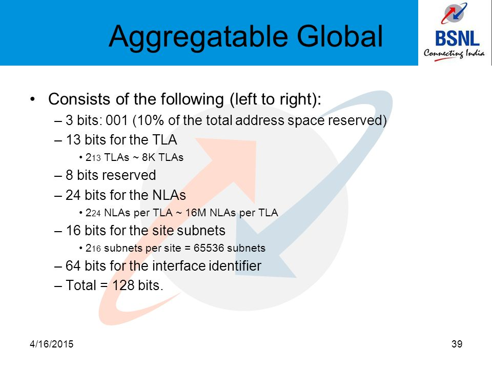 Aggregatable Global Consists of the following (left to right): – 3 bits: 001 (10% of the total address space reserved) – 13 bits for the TLA 2 13 TLAs ~ 8K TLAs – 8 bits reserved – 24 bits for the NLAs 2 24 NLAs per TLA ~ 16M NLAs per TLA – 16 bits for the site subnets 2 16 subnets per site = 65536 subnets – 64 bits for the interface identifier – Total = 128 bits.