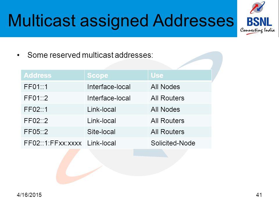Multicast assigned Addresses Some reserved multicast addresses: 4/16/201541 AddressScopeUse FF01::1Interface-localAll Nodes FF01::2Interface-localAll Routers FF02::1Link-localAll Nodes FF02::2Link-localAll Routers FF05::2Site-localAll Routers FF02::1:FFxx:xxxxLink-localSolicited-Node