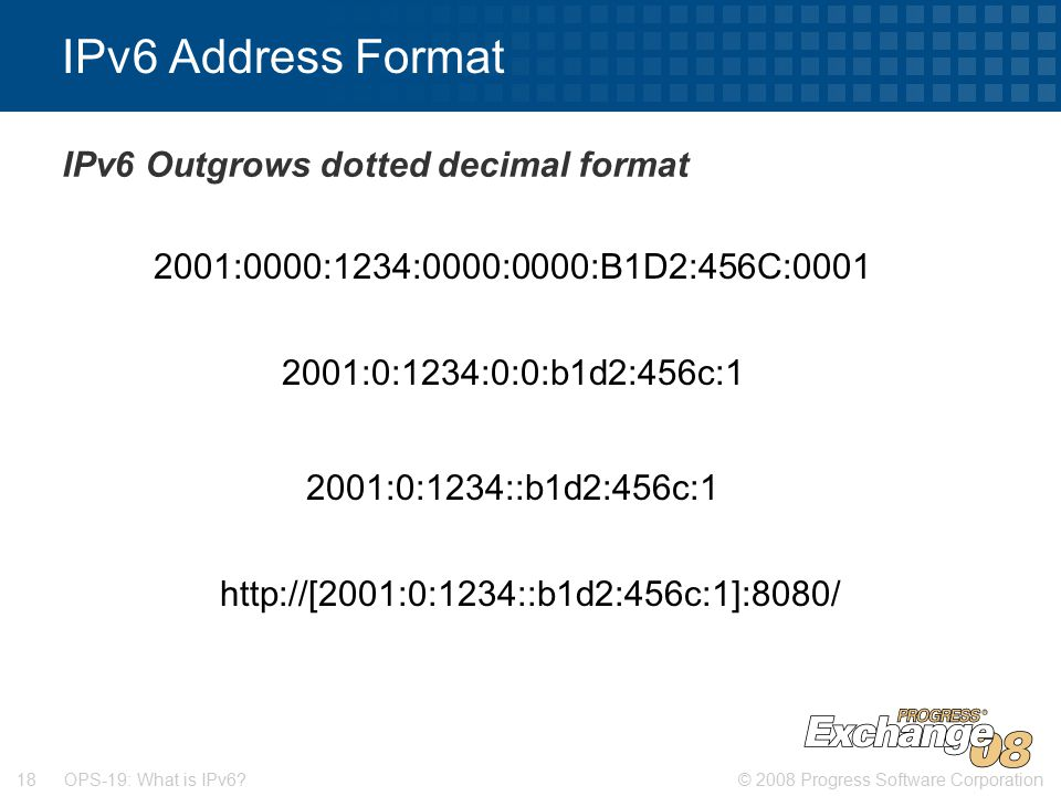 © 2008 Progress Software Corporation18 OPS-19: What is IPv6.