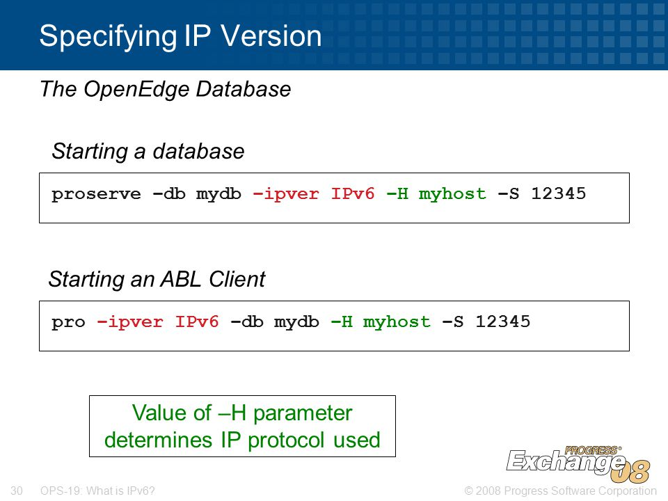 © 2008 Progress Software Corporation30 OPS-19: What is IPv6.