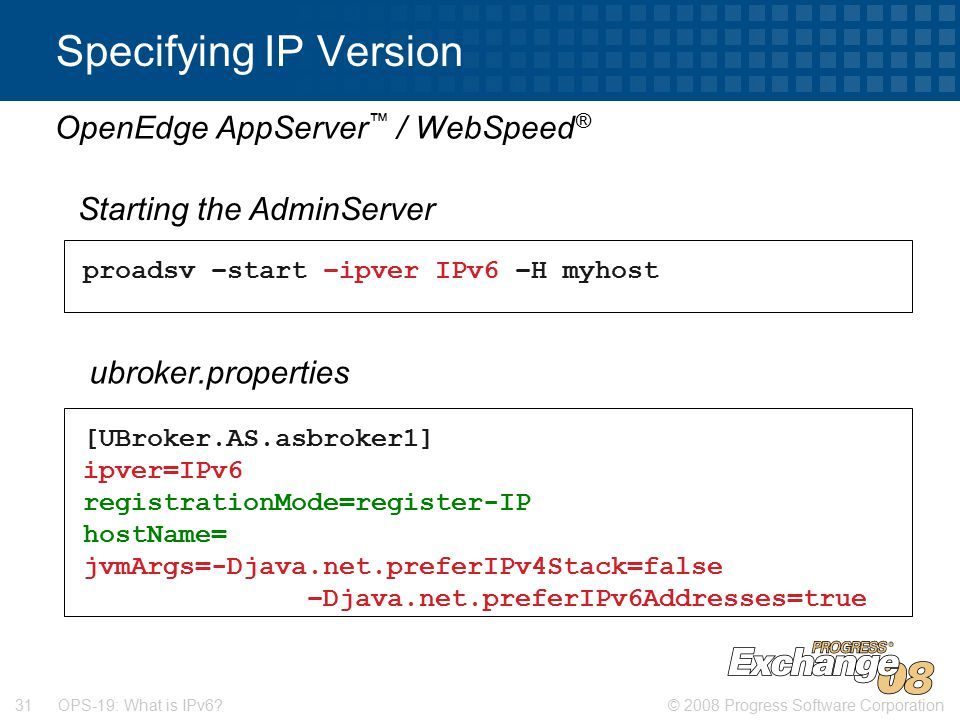 © 2008 Progress Software Corporation31 OPS-19: What is IPv6.