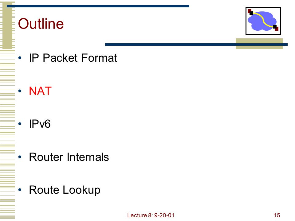 Lecture 8: 9-20-0115 Outline IP Packet Format NAT IPv6 Router Internals Route Lookup